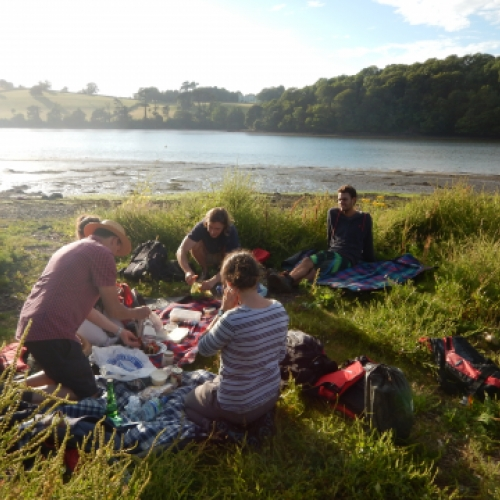 picnic on the shore of the River Dart estuary with Canoe Adventures