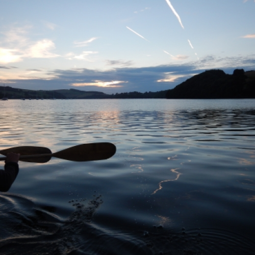 Evening paddle sunset with Canoe Adventures