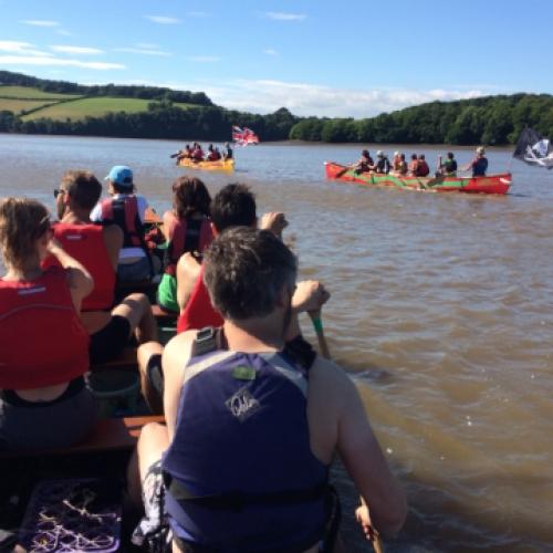 fleet of big canoes with Canoe Adventures