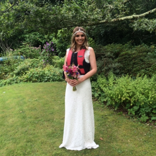 bride ready for her wedding with Canoe Adventures